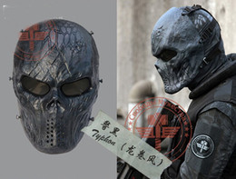 Wholesale Airsoft Full Face - Tactical Rattlesnake Mandrake scary horror skull Chastener typhon Camouflage Full Face Masks For Movie Prop Airsoft CS Wargame Paintball