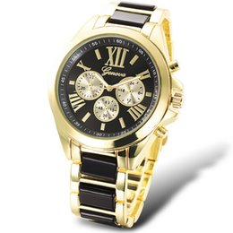 Wholesale Geneva Watch Women White Gold - Geneva Brand Analog Quartz Wristwatch For Men   Women Casual Sport Gold Watch Waterproof Relogio Masculino Geneva three-eyes watch 6 colors