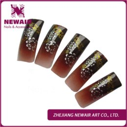 Wholesale Designer French Nail Tips - New Arrival 70pcs Nail Art Tips Classic Flowers Pattern With Glitter French Airbrush Nail Tips Long Designer Flase Nails