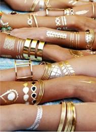 Wholesale Fancy Body Jewelry - Summer Flash Tattoos Temporary Metallic Tattoo Jewelry Fancy Flash Body Gold Tattoo Silver Bling Feather Flash Necklace Waterproof Sticker
