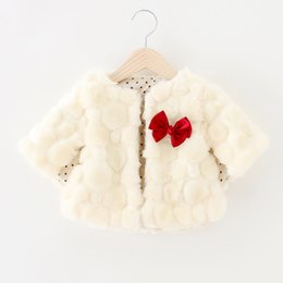 Wholesale Girls White Fur Cape - Wholesale-2015 winter baby girl cape 6-24months Faux Fur bow warm jacket baby girls noble coat newborn clothing GC145 baby cape