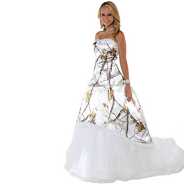 Wholesale Realtree Wedding - Fashion White Snow Camo Wedding Dresses with Tulle Skirt Realtree Camouflage Bridal Dresses Sweep Train Wedding Gowns 2017 Vestidos Ve Novia