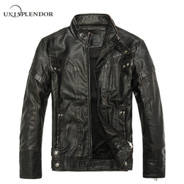 Wholesale Leather Hip Hop Winter Jackets - Wholesale- 2017 Men New Fashion Casual Leather Jacket Winter Spring Autumn Male Hip Hop Bomber Jacket Hipster Tops Warm Jacket Cool YN10082