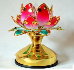 Lampada petalo online-Colore loto lampada petali di loto prima del tempio Piccola lampada del Buddha del Buddha Forniture buddiste per lampade a luce lunga