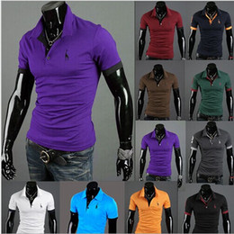 Wholesale Casual Slim Fit Khaki - Fashion Newest Mens t shirts,short sleeves t-shirts,casual slim fit embroider designer tees tops 10 colors , pulg size drop shipping