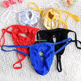 Wholesale Wholesale Men Lingerie - Wholesale-Sexy Mens Underwear Crotchless Underpants Knickers Lingerie Nightwear Panties EQB654