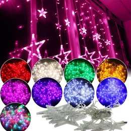 Wholesale Indoor Led Curtain Lights - New Fashion 2.5m Curtain Star String Lights 8W Christmas New Year Decoration Xmas Led Lights Christmas Decorations Top Quality