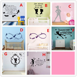 Wholesale Art Pan - Kids Wall Sticker Cartoon Character Peter Pan And Fairies Decals for Playroom Bedroom Nursery Home Decor 8 styles