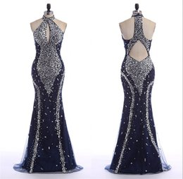 Wholesale Maternity Wear China - Mermaid Evening Dresses High Neck Sleeveless Big Ass Navy Blue Luxury Beading Sexy Made In China Special Occasion Sale Long Party Gowns