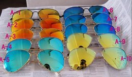 Wholesale Sun Protection Film - DORP SHIPPING UV Protection Fashion sunglasses Color film Lens men's polarized Mirror sunglasses women's Color film sun glasses