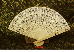 Wholesale Folding Hand Fans - Wedding Fans Wooden Fans Handmade 8'' Chinese Sandalwood Fans Ladies Hand Fans Travel Fans Promotional Folding Fans Guest Gift
