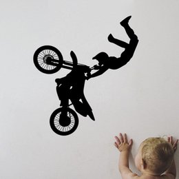 Wholesale Motorcycle Vinyl Wall Decals - Vinyl Wall Decal Art Sticker Motorcycle Racer Tricks Boys Room Decor