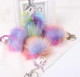 Wholesale horses farms - Anime Horse Keychain Cute Unicorn Key Chain Pendant Women Car Styling Fluffy Fur Pompom Keyring Bag Hang Trinkets