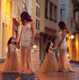 Wholesale Crystal Grape Wholesale - 2017 Two Piece Full Beaded Crystals Sweetheart Inllusion Tulle Mother And Daughter Dress Sets Wedding Dress SexyParty Dresses