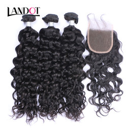 Wholesale Virgin Indian Hair Curly Mixed - Peruvian Malaysian Indian Brazilian Virgin Hair 3 Bundles with Lace Closure Natural Wave Wet and Wavy Water Wave Curly Mink Human Hair Weave