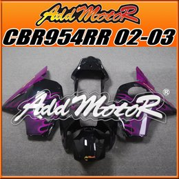Wholesale Honda Cbr 954 Plastics - Addmotor Injection Mold Plastic Fairings For Honda CBR954RR 2002 2003 CBR 954 RR 02 03 CBR 954RR Body Kit Purple Flames H9506+5 Free Gifts