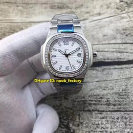 Wholesale Womens Watches Digital - NEW Luxury Brand High Quality AAA Nautilus Quartz Womens Watch 7010 1G-011 Diamond Bezel White Dial Stainless Steel Bracelet Ladies Watches