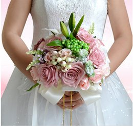 Wholesale Cameo Backing - Vogue Cameo Rose Flowers Lily Bridal Bouquets Handmade Flowers Wedding Suppliers With Green Leaf Wedding Events Flower Home Decorations