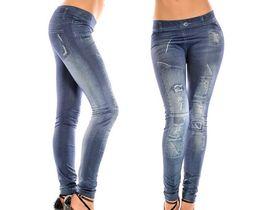 Wholesale Leggings Grinding - Women leggings Large size seamless imitation cowboy grinding white square hole patches printed leggings Leggings pants Nine minutes of pants