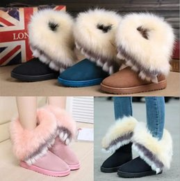 Wholesale Furry Boots - Autumn Winter Fashion Warm Fox Fur Snow Women Boots Shoes Furry Lady Short Boots Casual Long Snow Shoes