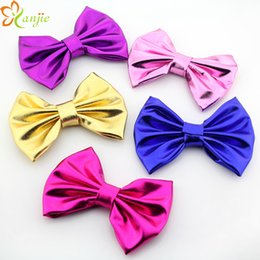 Wholesale Big Gold Hair Bow - SALE! 5'' Big Messy Metallic Glitter Bow,Gold Silver Metallic Bow For Baby and Kids Headband Glitter Hair bows 10 colors 50PCS