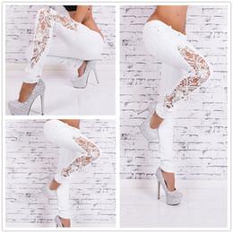 Wholesale Vintage Denim High Waist - Fashion Women Jeans Pants Ladies Lace Floral Splice High Waist Jeans Hollow Out Casual Women lace jeans sky blue plus size S M L XL XXL XXXL