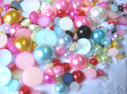 Wholesale Beads Ornament - Hot Sale 1000pcs 3-10mm Mixed Pearlized Cabochon Half Beads Crafts ABS Pearl Nail Art Ornament Jewelry Bling Free Shipping