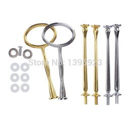 Wholesale Tier Plate Stand Hardware - 3 Tier Oval Cake Fruit Plate Stand Fitting Centre Handle Hardware Rod Silver Golden
