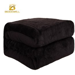 Wholesale Coral Sheets - Wholesale- Beddowell Flannel Coral Fleece Blanket Polyester Black Color 5 Size Mink Throw Sofa Cover Plaid Sheet Soft Blankets On The Bed