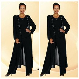 Wholesale Woman Suits Beading - 2016 Elegent Chiffon Mother Of The Bride Pant Suits Beaded Collar Long Sleeve Crew Black Women Dress Evening Dresses