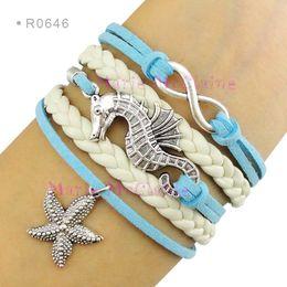 Wholesale Aqua Custom - Infinity Love Seahorse Charm Bracelets Sea Horse Starfish Pendant Bracelets Wrap Leather Aqua Blue Suede Unisex Women Fashion Gift Custom