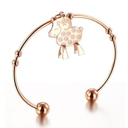 Wholesale Sheep Coin - Sheep Design Women Bangle Fashion Trendy Coins Style Rose Gold Silver Plated Stainless Steel + Crystal Women Jewelry Bangles