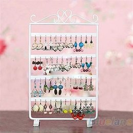 Wholesale Metal Closet Organizers - 48 Holes Display Rack Metal Stand Holder Closet Jewelry Earrings Organizers Showcase Packaging & Display Wholesale 1DJ9