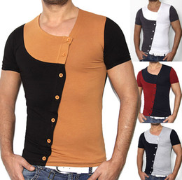 Wholesale Cool Casual Shirts For Men - men's T-shirt casual T-shirts & Top for men 2016 cool New T-shirt Mens Cotton Summer V-neck Fashion Patchwork Shirt slim fit Free Shipping