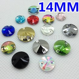 Wholesale Wholesale Rivoli 14mm - Wholesale-More Colors 180pcs 14mm Round Rivoli Glass Crystal Sew-on Stone Flatback Sewing Crystal Beads