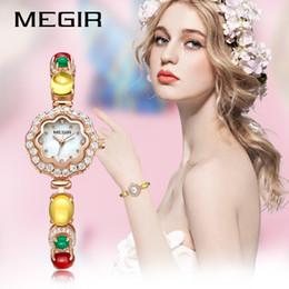 Wholesale Brass Imports - MEGIR Ladies Watch With Diamonds Fashion Import Movement Brass Wrist Watch 4197L