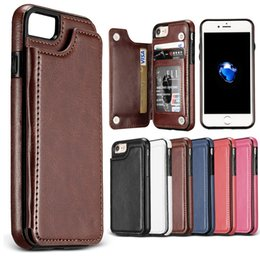 Wholesale Iphone Back Pocket - For iPhone X Back Cover Case PU Leather Ultra Hybrid Shockproof Protective Wallet Case for iPhone 7 7 Plus with OPP Package