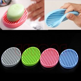 Wholesale Soap Dishes Ceramic - Free Shipping Fashion Silicone Flexible Soap Dish Plate Bathroom Soap Holder WD6