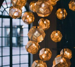 Wholesale Brass Hotel - Tom Dixon Etch Pendant Light Vintage Ceiling Lamp Brass Ball Pendant Light Gold Silver Modern Bar Lamp 25cm Chandeliers Pendent Lamps