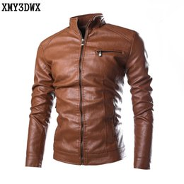 Wholesale Fit Trade - Wholesale- 2017 High-grade PU Pure color male foreign trade locomotive leather fashion Leather Coats Men's Skinny Fit Motorcycle Jacket