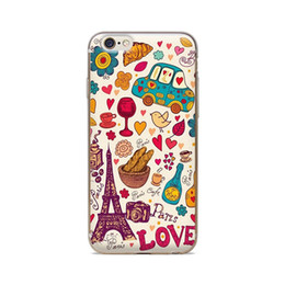 Wholesale Skin For Iphone Paris - Wholesale For iPhone 4 4S 5 5S 5C 6 6S 6Plus Of Cartoon Paris Love Of Skin TPU Silicone Gel Protective Cover
