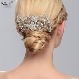 Wholesale Vintage Crown Hair Pieces - vintage Bridal Hair Accessories Wedding Silver Color Leaf Crown Alloy Hair Combs Tiara For Bride Hair Jewelry Head piece HS-J1788
