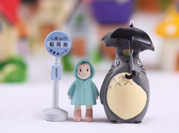 Wholesale Micro Loading - 3 pcs lot Totoro Hayao Miyazaki Classic Style Micro Landscape Gardening Potted Succulents Doll Umbrella Raincoat Xiaomei