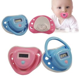 Wholesale Dummy Battery - Digital LCD Safety Cute Infant Baby Temperature Dummy Pacifier Nipple Thermometer battery included Pink and blue Free shipping