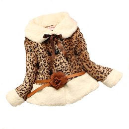 Wholesale Down Jacket Leopard - 2015 Excellent quality With belt Gilr fur Leopard grain lapel coat warm soft outerwear Girls Jacket clothing D605M