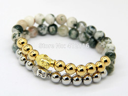 Wholesale Indian Bead Tree - 2015 New Design Bracelets Wholesale Color Keeping Gold and Silver Bronze Bead with Natural Tree Grain Stone Buddha Yoga Bracelet