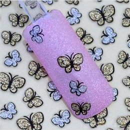 Wholesale Nail Butterfly Gold - 50 x Sheet 3D Glitter Gold Silver Butterfly Nail Art Stickers Decals Nail Art Decoration BL064