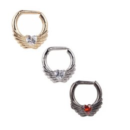 Wholesale Gem Nose Hoop - Septum Clicker Wholesale 10PCS Lot 1.2MM 316L Steel Zircon Gem Heart With Angle's Wing Nose Clip Hoop Ring Jewelry Piercings