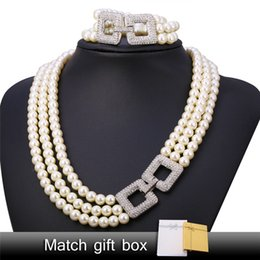 Wholesale pearl necklace multi - U7 Pearl Jewelry Sets For Women New Trendy Platinum Plated Clear Rhinestone White Pearl Multi Layers Necklace Bracelet Set Romantic Gift