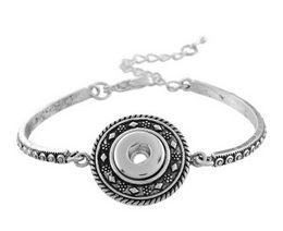 Wholesale Fishbone Chain - Fishbone chain snap button bracelet DIY personality Noosa button Bracelet fit for 18mm charm ancient carved fine silver chain bracelet
